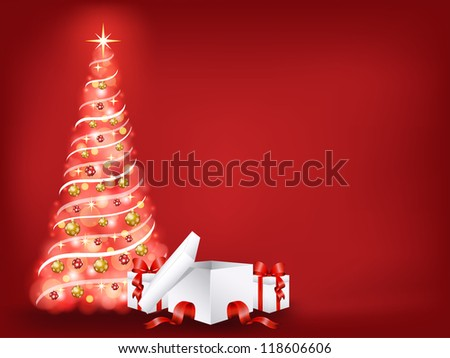 Christmas tree with presents - stock vector