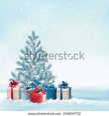 Christmas tree with presents background. Vector. - stock vector