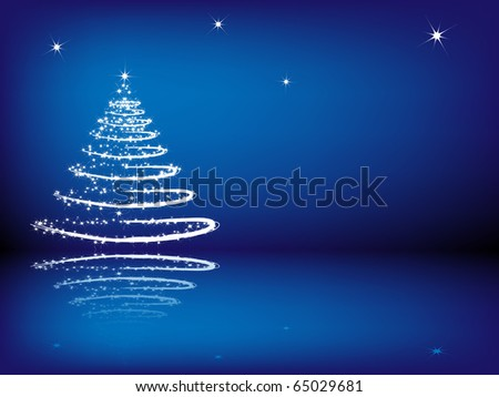 Christmas tree with reflection on the blue background - stock vector