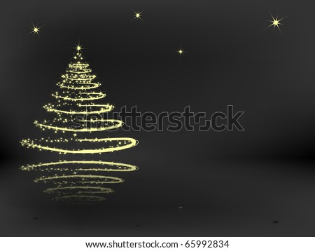 Christmas tree with reflection on the dark gray background - stock vector