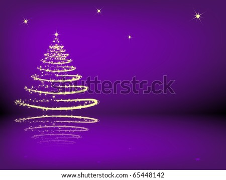 Christmas tree with reflection on the purple background - stock vector