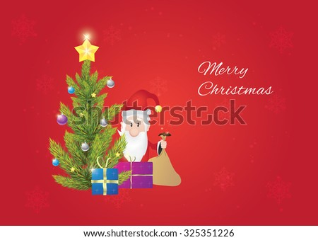 Christmas tree with santa claus, when he is giving gifts to you. Christmas postcard. Red background. - stock vector