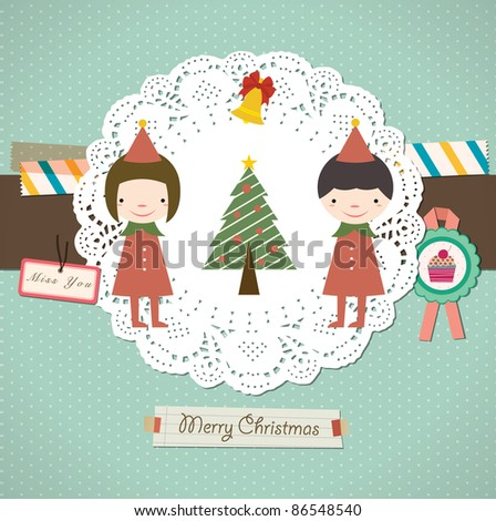 Christmas Tree with Santa Couple in Lovely Background. - stock vector