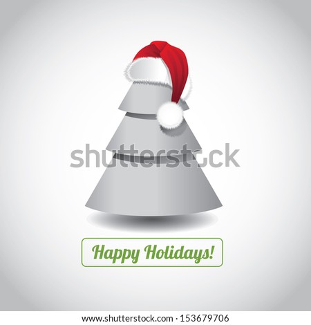 Christmas Tree with Santa Hat Greeting Card design. EPS 10 vector, grouped for easy editing. No open shapes or paths. - stock vector