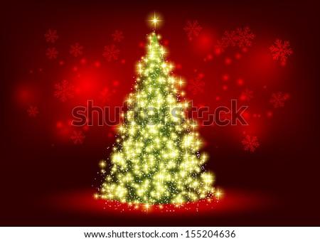 Christmas tree with shiny lights - stock vector