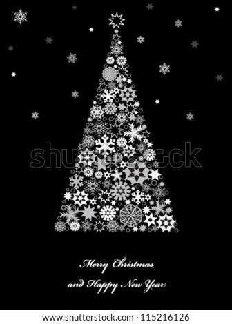 Christmas tree with snowflakes. Vector - stock vector