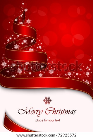 Christmas tree with stars and snowflakes on red background, illustration - stock vector