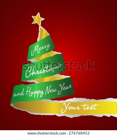 CHRISTMAS TREE WITH TORN PAPER - stock vector