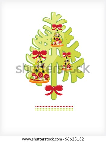 Christmas tree with toys from a piece of pizza attachment bows - stock vector