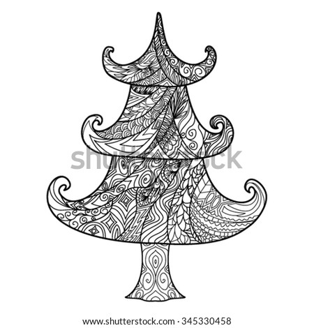 christmas tree zendoodle design element template greeting card printing on bags and for - What Kind Of Trees Are Christmas Trees