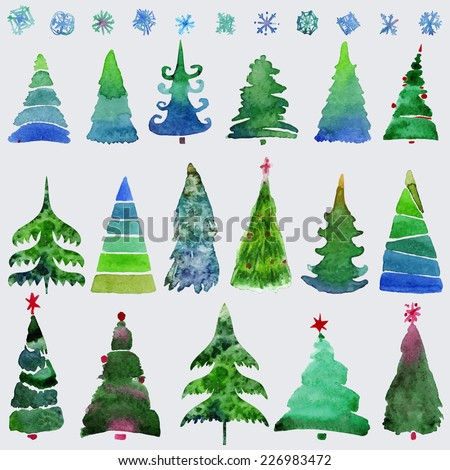 Christmas trees  and snowflake  set of holidays hand drawn paint winter season. Vector set design holiday christmas trees. - stock vector