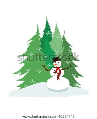 Christmas trees and snowman vector - stock vector