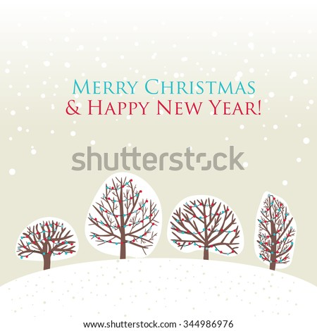 Christmas Trees Background Simple Card