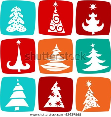 Christmas trees icons - stock vector