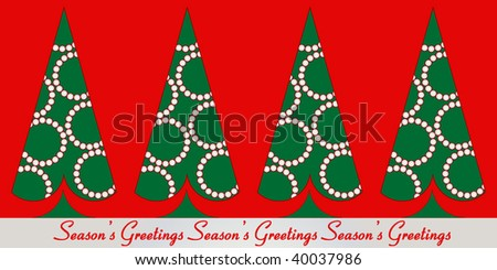 "Christmas trees in a row with ""Season's Greetings"" below (easily remove for your own message) Use trees separately - stock vector"
