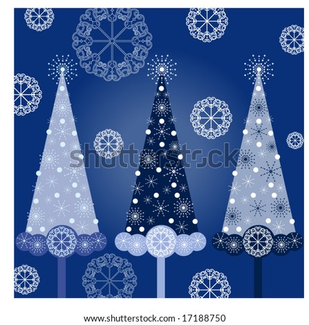 christmas trees in blue - each tree on different layer for easy editing - stock vector