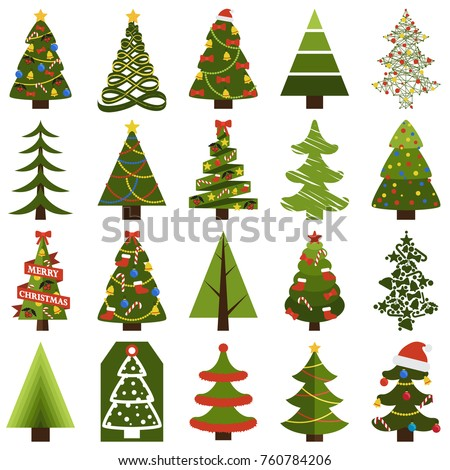 Christmas trees in natural condition and decorated for holiday isolated cartoon flat vector illustrations set on white background.