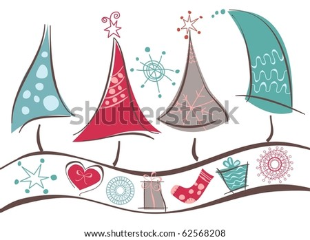 Christmas trees line and Christmas symbols - stock vector