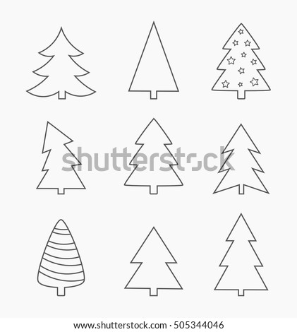 Christmas trees line shapes set. Vector illustration