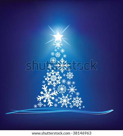 christmas trees modern illustration in a loose abstract style on blue - stock vector