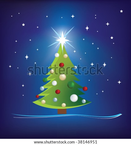 christmas trees modern illustration on blue night sky - stock vector