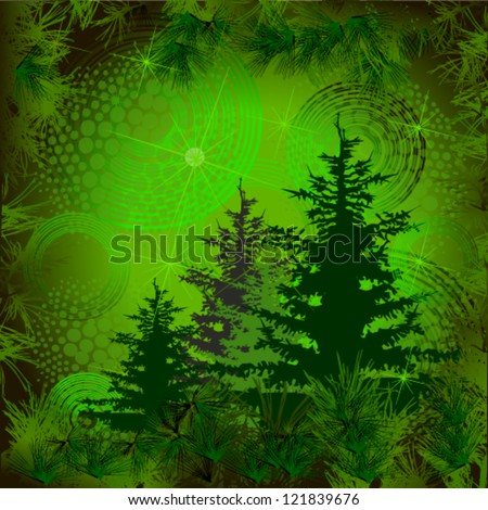 Christmas trees on the background - stock vector