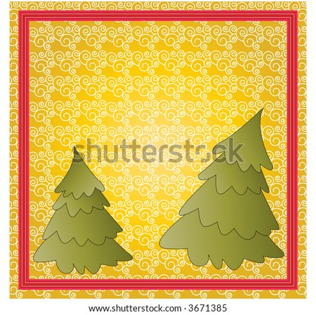 christmas trees over coil seamless pattern room for your input vector - stock vector