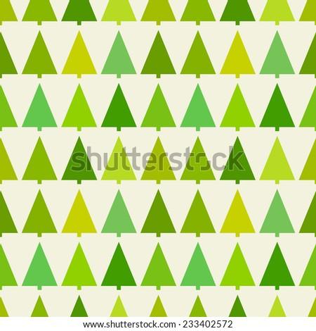 Christmas trees seamless pattern. Vector illustration - stock vector
