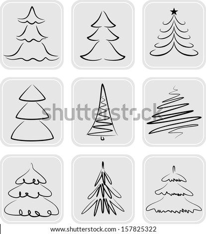 Christmas trees silhouettes. May be used as icons - stock vector