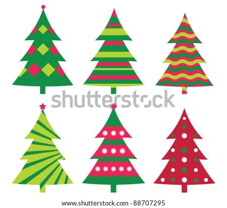 Christmas trees vector collection - stock vector