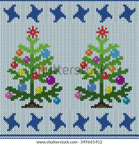 Christmas trees with multicolour ornate details makes in stylized knitting employment, seamless vector pattern - stock vector