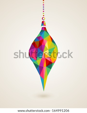 Christmas trendy hanging drop bauble made with colorful triangles composition. EPS10 vector file organized in layers for easy editing. - stock vector