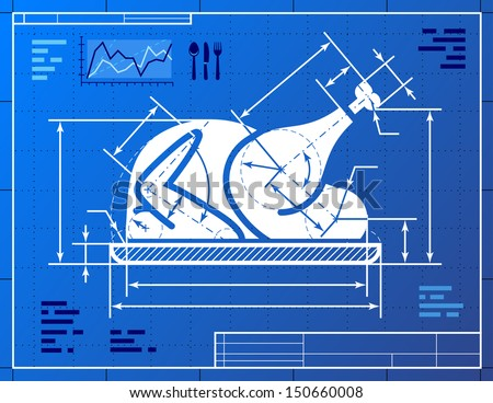 Christmas turkey symbol like blueprint drawing stock vector christmas turkey symbol like blueprint drawing stylized drawing of roast turkey on blueprint paper malvernweather Image collections