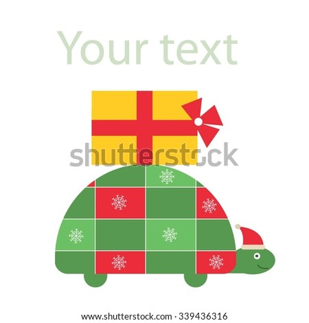 Christmas turtle with gift on the shell. Christmas greeting card. Vector illustration - stock vector