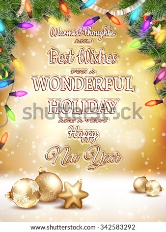 Christmas type design, holidays decoration and candles background. EPS 10 vector file included - stock vector