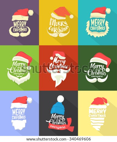 Christmas Typographic Background Collection / Merry Christmas / Santa - stock vector