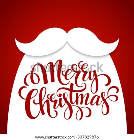Christmas Typographic Background. Santa  Beard. Vector illustration EPS 10 - stock vector
