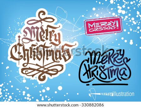 Christmas typographic background set. Vector illustration - stock vector