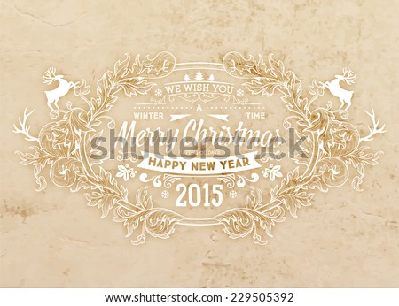 Christmas Typographic Label for Xmas and New Year Design. Calligraphic Vector Decoration. Christmas Greeting Card Template for Holiday Flyer, Placard and Poster Designs. Vintage Frame and Border. - stock vector