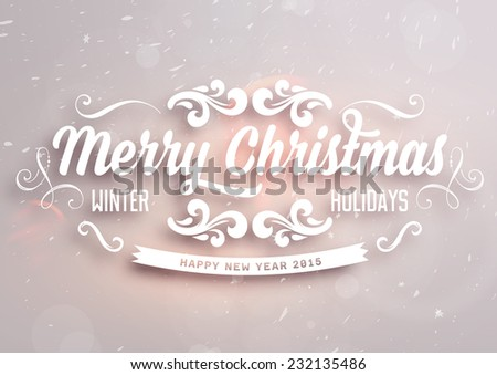 Christmas typographic label for Xmas and New Year holidays design. Calligraphic vector Decoration - stock vector