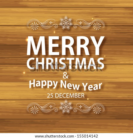 Christmas typographic label with on glimmered wooden background. Christmas greeting  card. Calligraphic vector decoration for your holiday design.