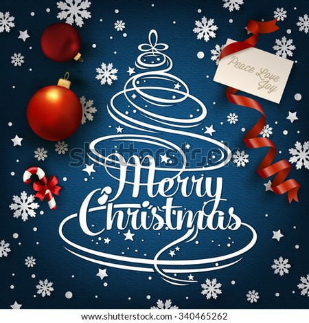 Christmas Typographical Background With Christmas Elements - stock vector