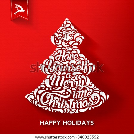 Christmas Typographical Vintage Greeting Card, Formed A Christmas Tree. Happy Holidays. Vector illustration. - stock vector