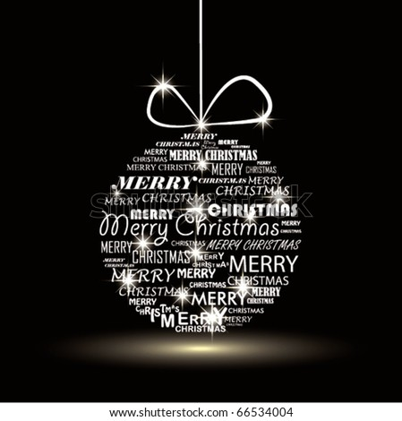 Christmas typography ball. - stock vector