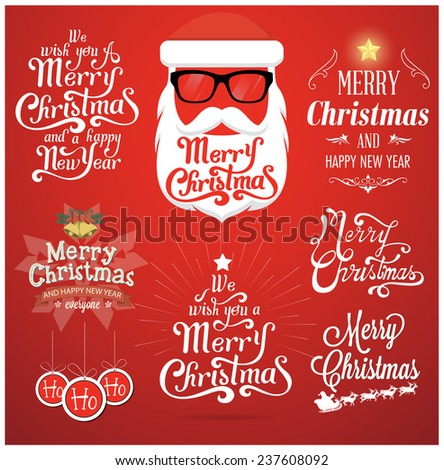 Christmas typography. Vector background - stock vector