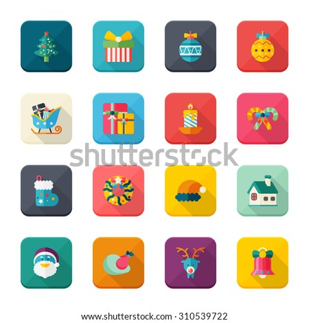 Christmas: Universal Flat Icons for Web and Mobile Applications
