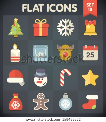 Christmas: Universal Flat Icons for Web and Mobile Applications Set 18 - stock vector