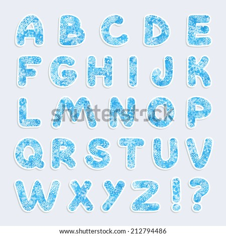 Christmas vector alphabet with snowflakes. Vector  illustration. Eps10 - stock vector