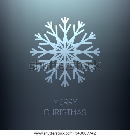 Christmas vector background. Single snowflake on a blue background. Merry Christmas inscription. - stock vector