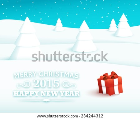 Christmas vector background. Winter Landscape. Red gift box with bow and ribbon at white snow. Greeting card with typography elements. 2015 happy new year. - stock vector